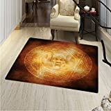 Horror House Rugs for Bedroom Demon Trap Symbol Logo Ceremony Creepy Scary Ritual Fantasy Paranormal Design Circle Rugs for Living Room 40''x55'' Orange