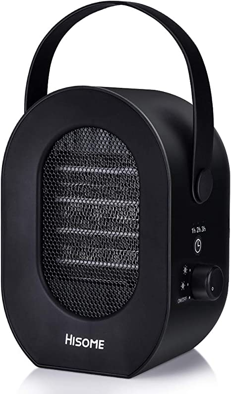 PTC 3S Fast Heating Space Heater Lovne Mini Desk Heater 1000W Personal Ceramic Heater With Adjustable Thermostat for Office Table Indoors Black