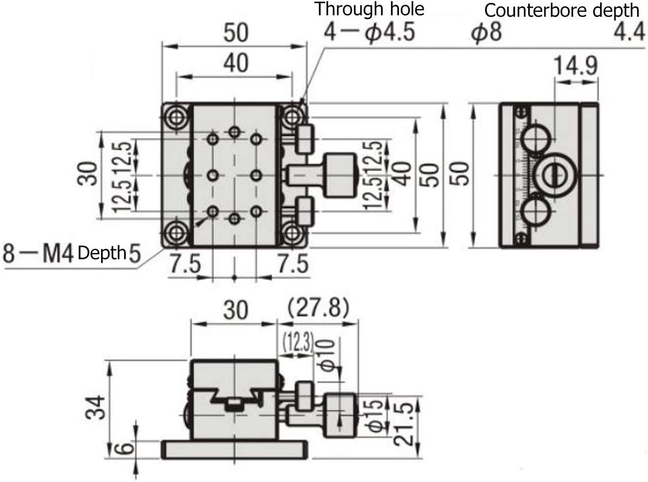 Etapa lineal manual del eje X Etapa de traslaci/ón lineal Manual Mesa deslizante de pi/ñ/ón lineal X 30 x 50 mm SEMCIC-50 Mesa deslizante tipo pi/ñ/ón de cremallera X