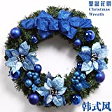 Christmas Garland for Stairs fireplaces Christmas Garland Decoration Xmas Festive Wreath Garland with Christmas garlands,blue bows,wreaths,vines,garlands,40cm