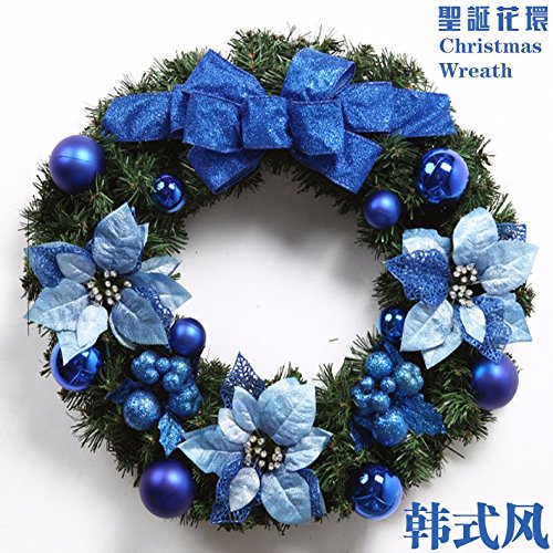 Christmas Garland for Stairs fireplaces Christmas Garland Decoration Xmas Festive Wreath Garland with Christmas garlands,blue bows,wreaths,vines,garlands,40cm by Caribou Furniture And Decor