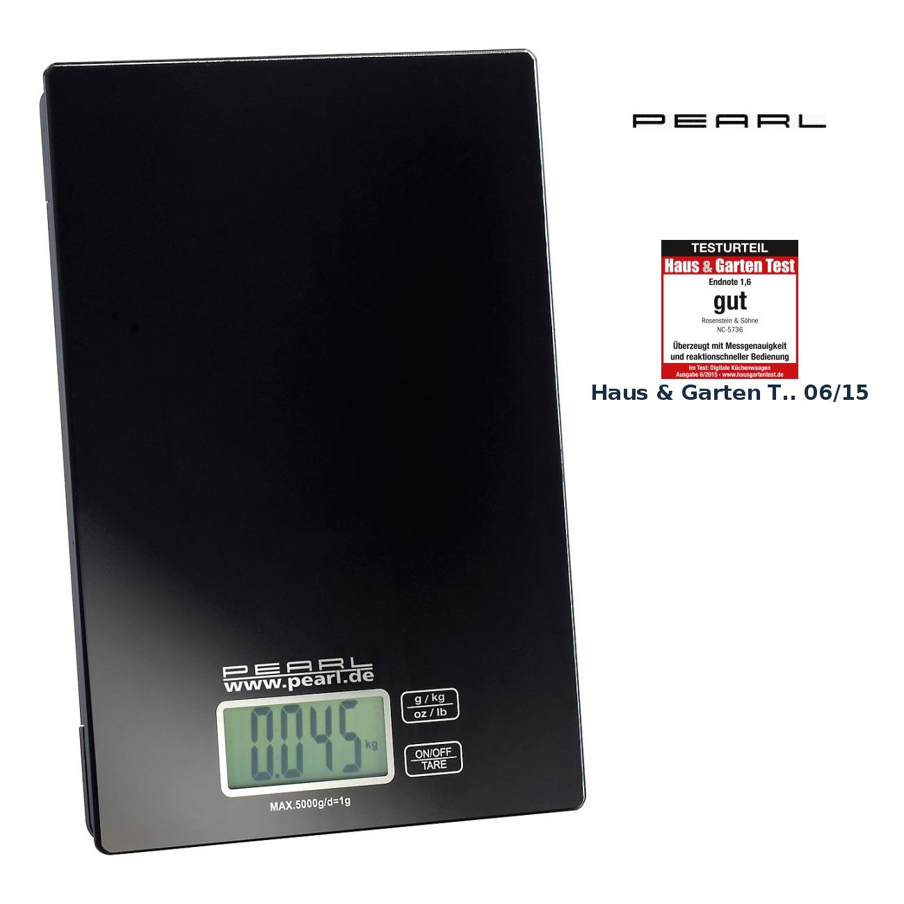 Amazon.de: PEARL Digitalwaage Küche: Digitale Küchenwaage, bis 5 kg ...