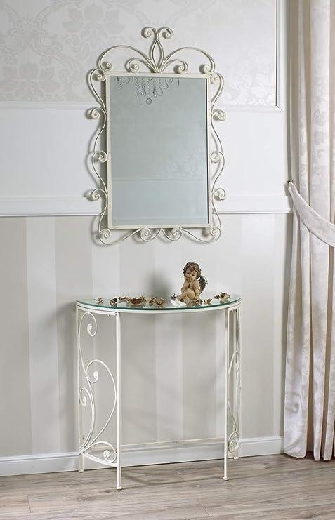 Consolle E Specchiera.Simone Guarracino Consolle E Specchio Havana Ferro Battuto Bianco Shabby Chic Top Vetro