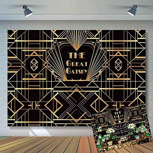 Allenjoy 8x6ft Soft Fabric Great Gatsby Themed Party Decor Background Adults Children Photography Backdrop Black and Gold Golden Banner Photo Studio Booth Props