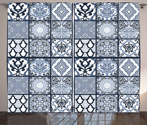 Ethnic Curtains by Ambesonne, Antique Arabian Oriental Mosaic with Ornaments Eastern Geometric Tile, Living Room Bedroom Window Drapes 2 Panel Set, 108W X 63L Inches, Dark Blue Baby Blue White by Ambesonne