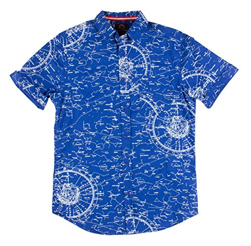 Ragstock Men's Casual Button-up Icon-Printed Woven Shirts (Large, Stars-1772) (Stars Large Casual Mens Clothing)