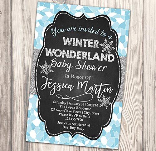 Winter Wonderland Baby Shower Invitation - Snowflake Baby Sprinkle Invite - Diaper Party - 4x6]()