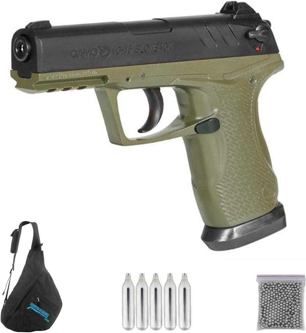 Gamo C-15 Blowback Olive Drab | Pack Pistola de balines (perdigones o Bolas de Acero BB's). Arma de Aire comprimido.CO2. Calibre 4,5mm. 3,33 Julios.