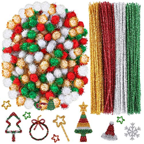 Cooraby 400 Pieces Glitter Chenille Stems Assorted Colors Christmas Pom Poms with Glitter Foil Crafts Xmas Pipe Cleaners Fluffy Balls Craft Set for Holidays DIY Supplies