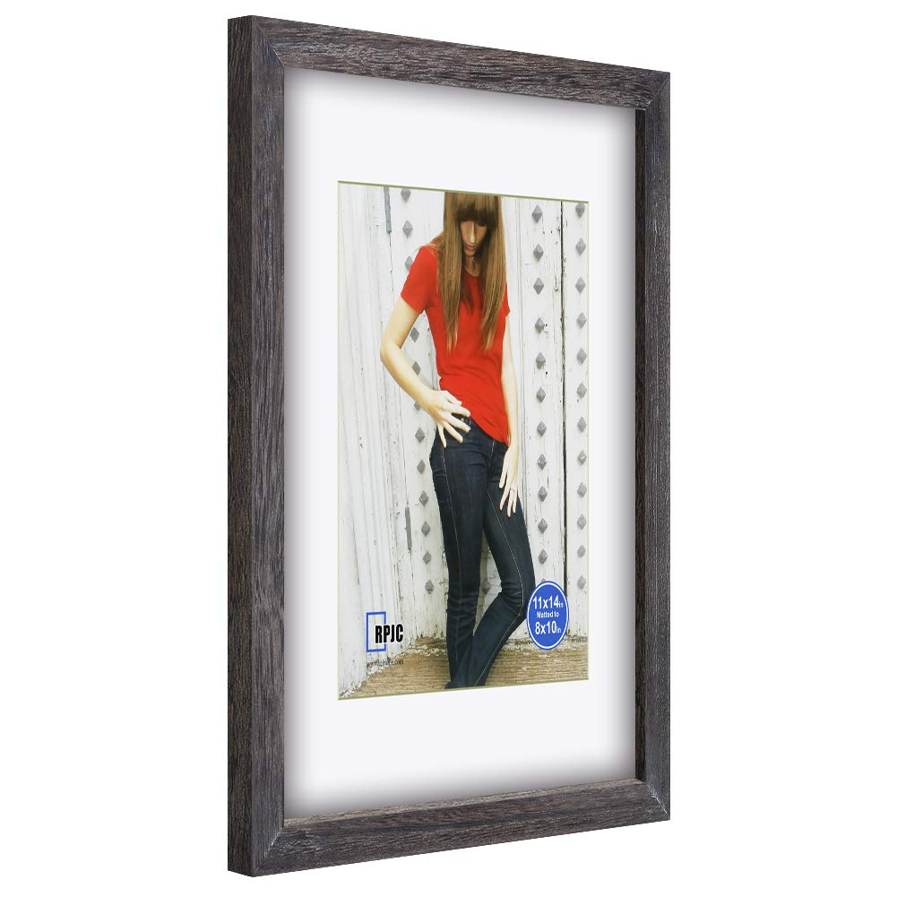 RPJC 11x11 inch Picture Frame Made of Solid Wood and High Definition Glass Display Pictures 8x8 with Mat or 11x11 Without Mat for Wall Mounting Photo Frame Carbonized