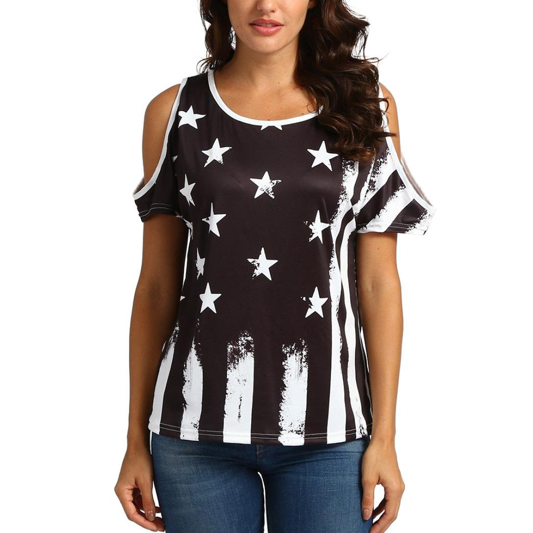 b07b7fead56 Oksale Baby Girl's Star and Stripe Print Cold Shoulder T Shirt Blouse:  Amazon.in: Clothing & Accessories
