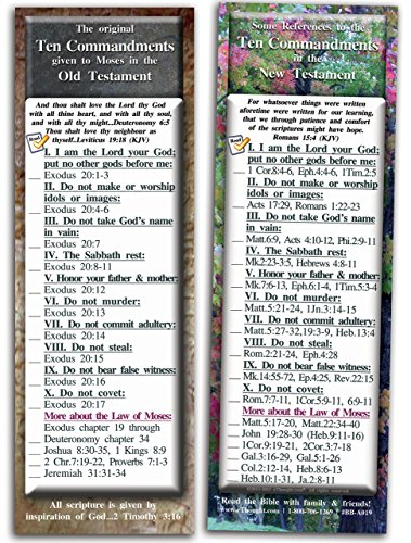 Ten Commandments Photo - eThought Bible Verse Cards, by - The Ten Commandments - Pack of 25 Bookmark Size Cards (2.75