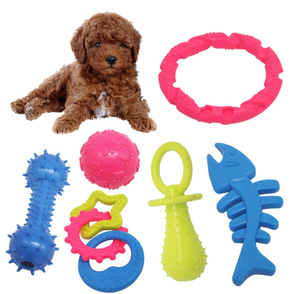 MICHLEY Puppy Dog Chew Toys - 6 pack Interactive Dog Teething Toys