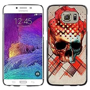 Be Good Phone Accessory // Dura Cáscara cubierta Protectora Caso Carcasa Funda de Protección para Samsung Galaxy S6 SM-G920 // Rose Skull Death Ink Tattoo Red Rose