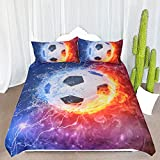 ARIGHTEX Fire and Ice Black and White Soccer Ball Bedding Set Football with Flames Duvet Cover Teen Boy Sports Bedding (Full)