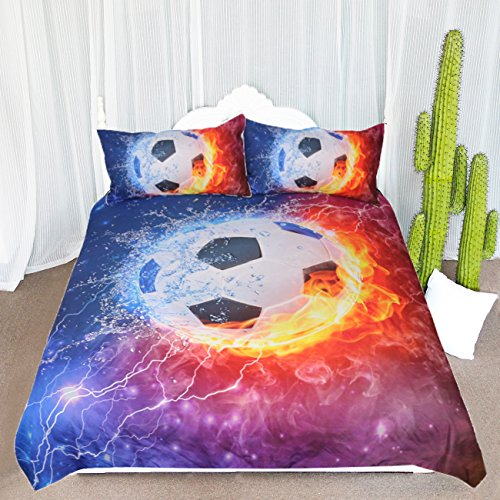 ARIGHTEX Fire and Ice Black and White Soccer Ball Bedding Set Football with Flames Duvet Cover Teen Boy Sports Bedding (Twin) by ARIGHTEX