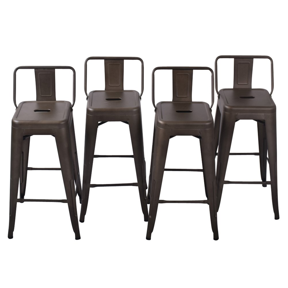 30'' Low Back Metal Counter Stool Height Bar Stools [Set Of 4] for Indoor/Outdoor Barstools, Bronze by HAOBO Home