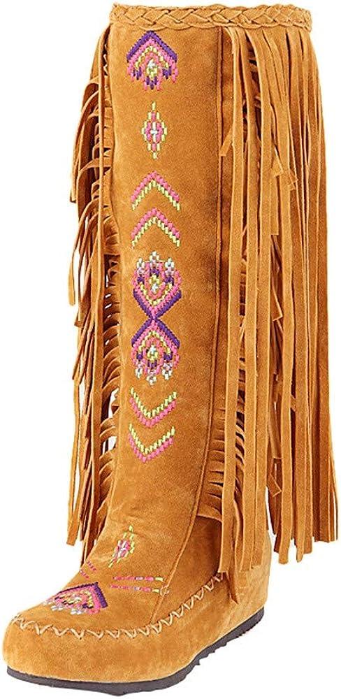 Bottines Indiennes Femme Bottes Western Escarpins Vintage, Shoes Imprimé Mode Escarpins Ultra Confort Bottes Rouge Talon Interieur 3cm Chaussure Pas