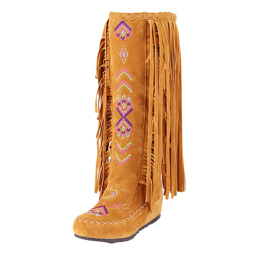Pongfunsy Women Knee High Boots Women Retro Nation Style Fringe Flat Heels Long Boots Winter Wsetern Cowboy Boots Yellow by Pongfunsy
