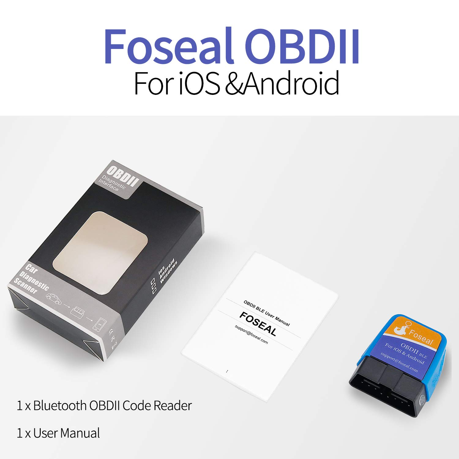 OBD2 Scanner Bluetooth 4 0 OBDII Scan Tool for Android Device & iOS (No  Need to Pair on iPhone/iPad), Foseal Car Diagnostic OBD 2 Check Engine  Light