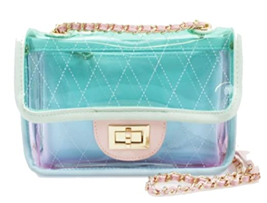 Quilted Chevron Waves Jelly Transparent Clear Shoulder Clutch Bag Evening  Cross Body With Gold Chain Strap 2c09976f7befd