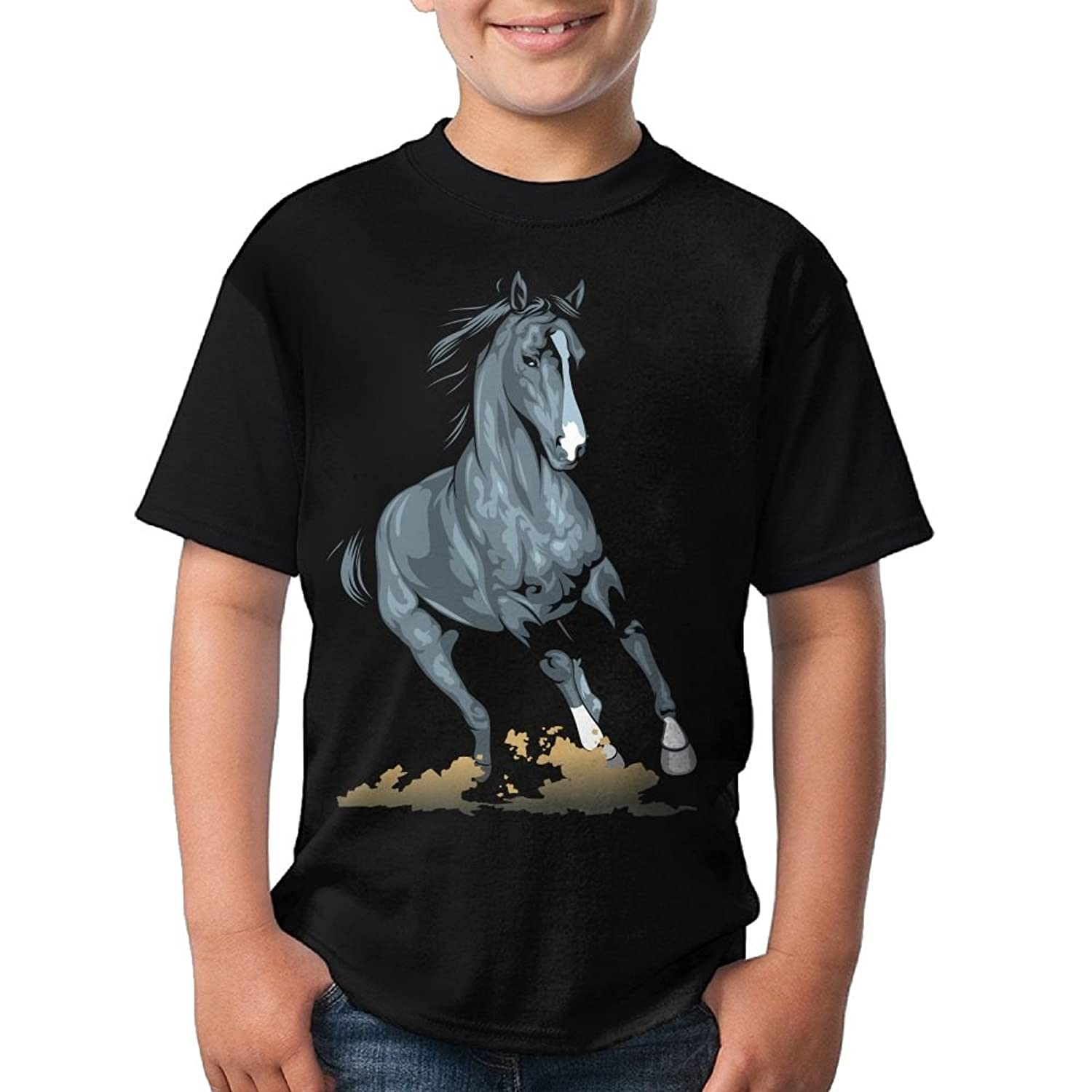 Hot CHENLY Unisex T-Shirt Casual Black Horse O-Neck Short Sleeve For Child - Black