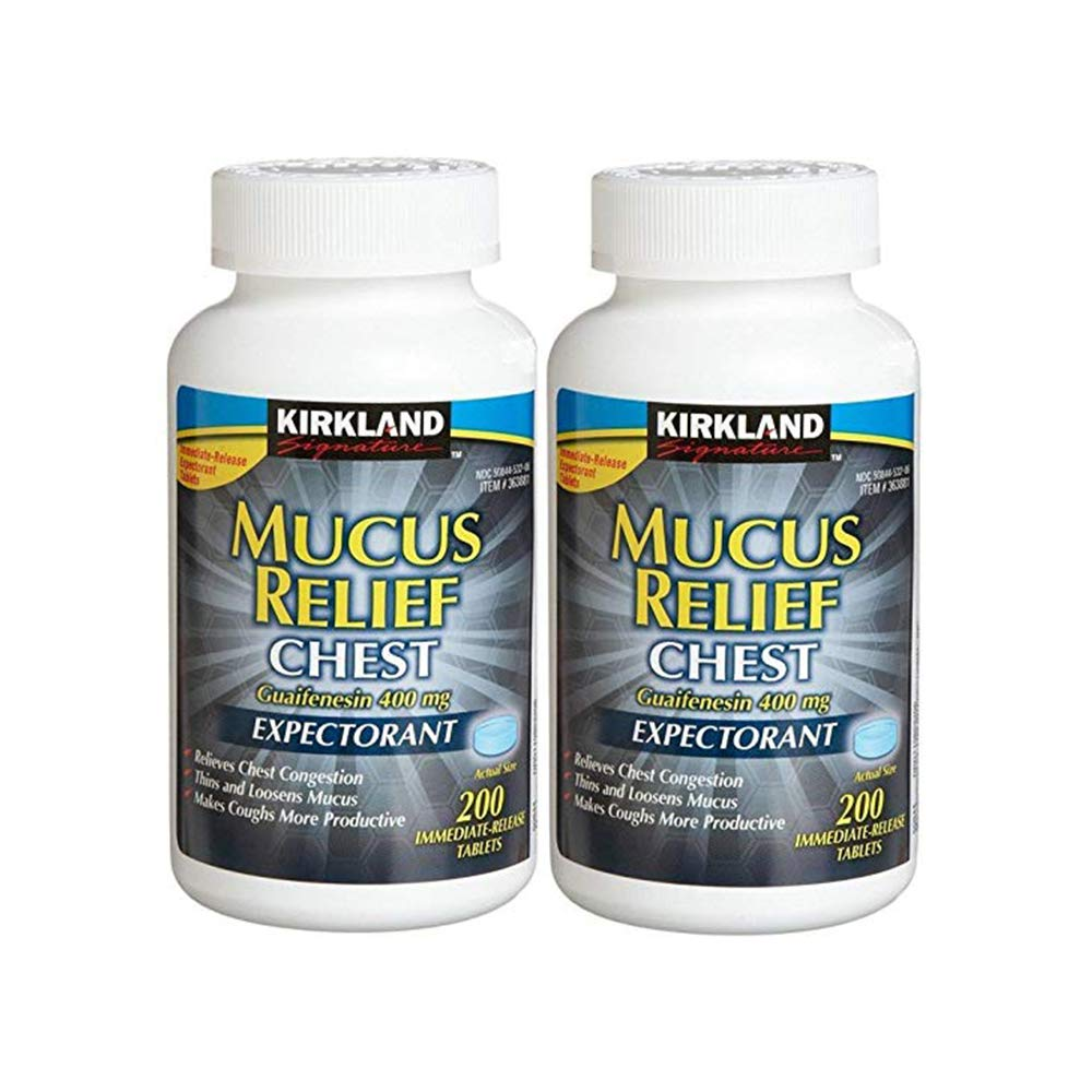 Kirkland Signature Mucus Relief Chest Guaifenesin 400 Mg Expectorant - 200 Tablets (Pack of 2, 400 Total) by KIRKLAND SIGNATURE