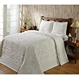 3pc Oversized Chenille King Bedspread Set Off White Natural, 120 X 110, Elegant, Vintage & Rustic Cottage Country Appeal, Geometric Contemporary Stylish Design
