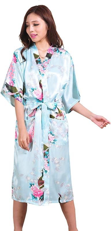 TieNew Pijama Lencería Kimono Largo Pavo de satén y Estampado ...