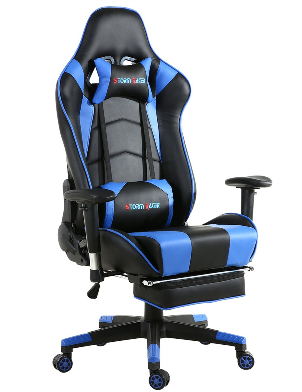Big Gaming Chair for PC Ergonomic Racing Game Chair Computer Chairs with Footrest,Blue/Black