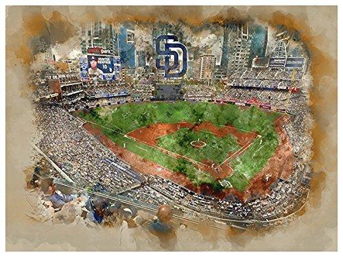 - ATLAS San Diego Padres Poster Watercolor Art Print 12x16 Wall Decor