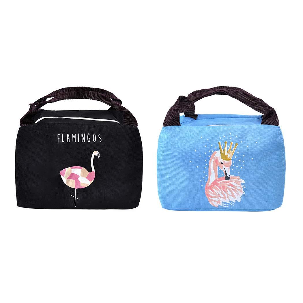 Negro + Azul iSuperb Bolsa T/érmica de Almuerzo con Aislamiento a Prueba de Fugas Bolsa de Asa de Alimentos Flamingo Cute Lunch Bag Reutilizables Bolsas de Almuerzo para Hombres Mujeres