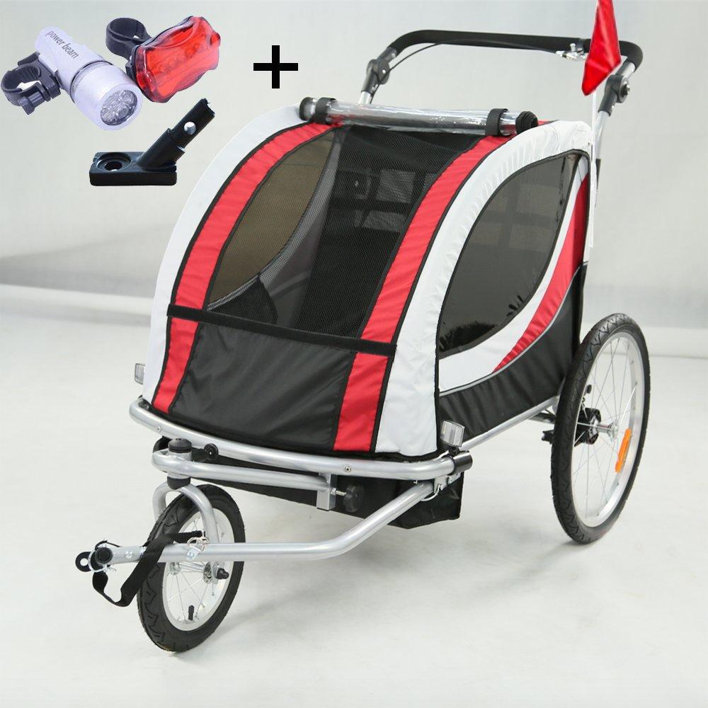 Style home 2 in 1 Fahrradanhänger Kinderanhänger 360° drehbar Vorrad Jogger Buggy Kinderwagen für 1-2 Kinder Radanhänger Transportanhänger mit Kupplung und Beleuchtung JG01-GW-003 (Grün-Weiße) Sinoma Europe GmbH