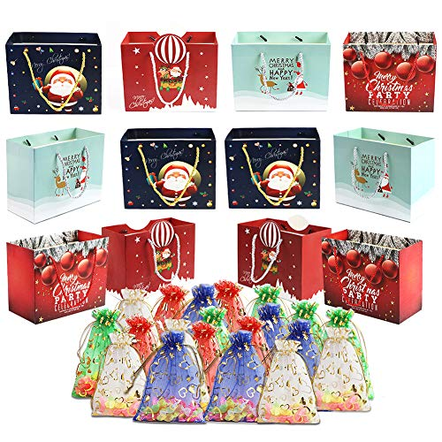 Christmas Gift Bags, WEST BAY 32Pcs Christmas Gifts Wrapping Set with 12Pcs Kraft Paper Gifts Bags 20Pcs Colorful Organza Drawstring Gift Bags Assorted for Party Wedding Christmas Valentine Gift Bags