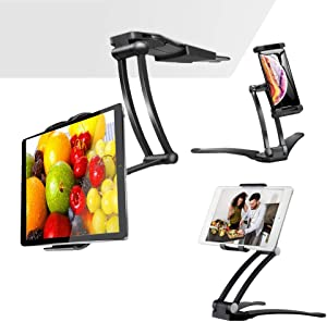 "Aluminum Folding Tablet Stand with 360° Swivel Phone Clamp Mount Holder, Wall Mount/Under Cabinet/Desktop Holder Fits 5-12"" Display Tablet/Phones for Table Bedside Office Desk, Black"