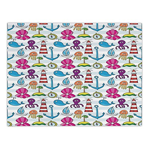 Polyester Rectangular Tablecloth,Whale,Whale Boat Island Anchor Octopus Jellyfis Lighthouse and Beach Theme Cartoon Art,Multicolor,Dining Room Kitchen Picnic Table Cloth Cover,for Outdoor -