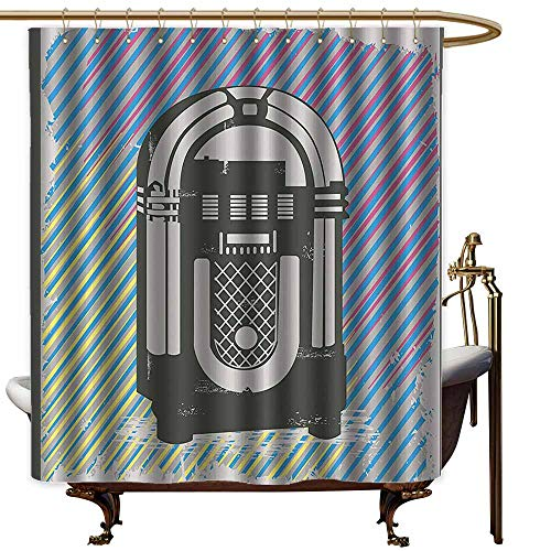 StarsART Shower Curtains Texas Jukebox,Radio Party Dark Grey Vintage Music Box with Abstract Grunge Colorful Stripes Image,Multicolor,W48 x L72,Shower Curtain for clawfoot tub