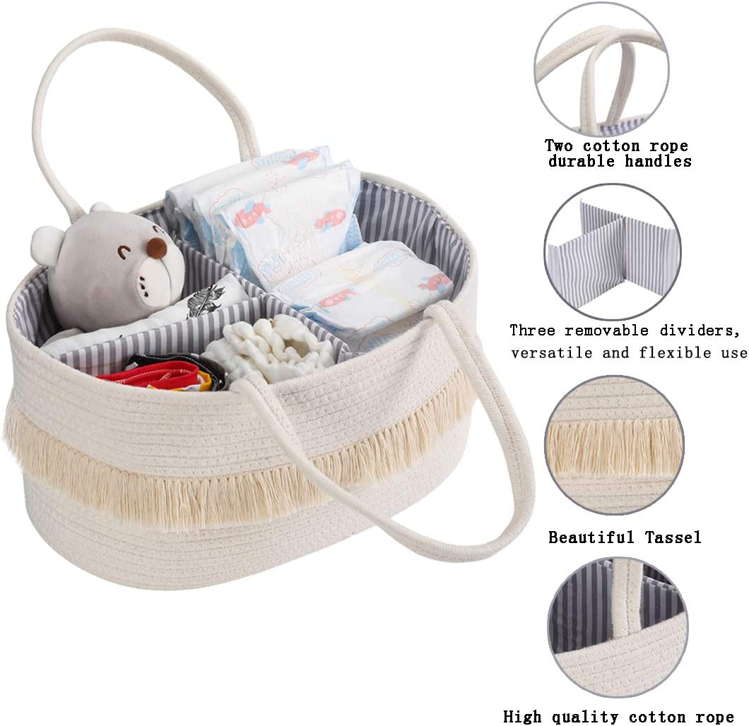 Nursery Storage Bin Canvas Portable Diaper Storage Basket with Removable Inserts for Changing Table /&Car Newborn Baby Shower Gift Basket Baby Rope Diaper Caddy Organizer