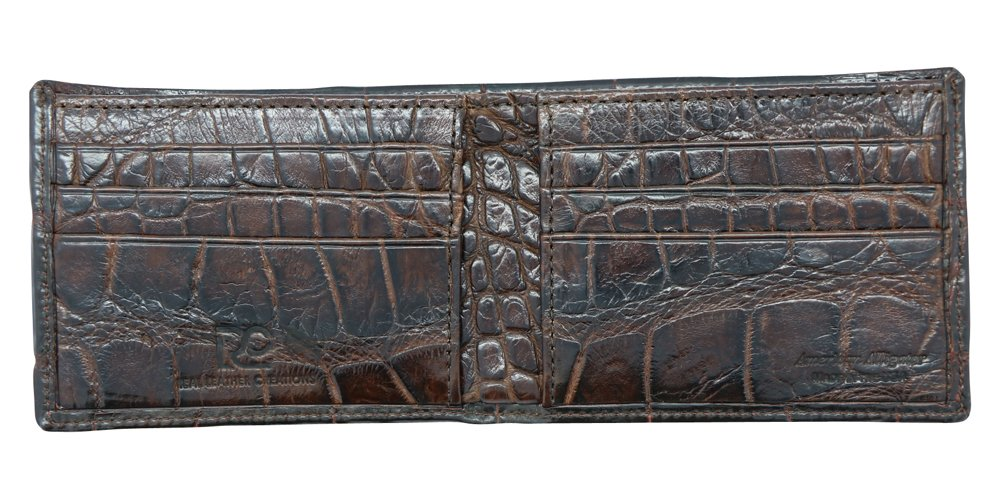 Brown Genuine Alligator Millennium Bifold Wallet – Alligator Inside and Out RARE - Factory Direct - Gift Box - Slim Billfold - Black Brown Cognac – Made in USA by Real Leather Creations FBA298 by Real Leather Creations (Image #6)