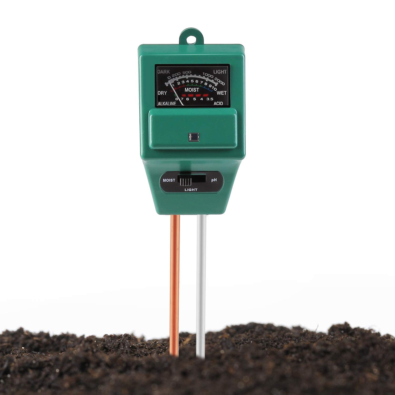 Jellas Soil pH Meter, 3-in-1 Moisture Sensor Meter/Sunlight/pH Soil Test Kits Test Function Home Garden, Plants, Farm, Indoor/Outdoor Use JLMM02