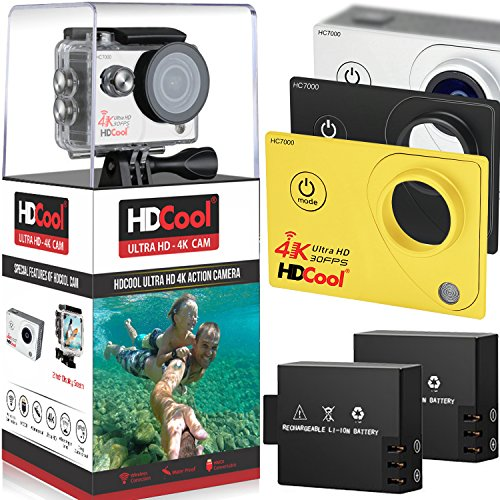 HDCool HC7000 4K Wi-Fi Action Camera 170 Degree Ultra Wide-Angle Lens 1080P HD 16MP Waterproof Sport Camera, 2.0 Inch LCD Display,Include 2 Rechargeable 900 mAh Batteries