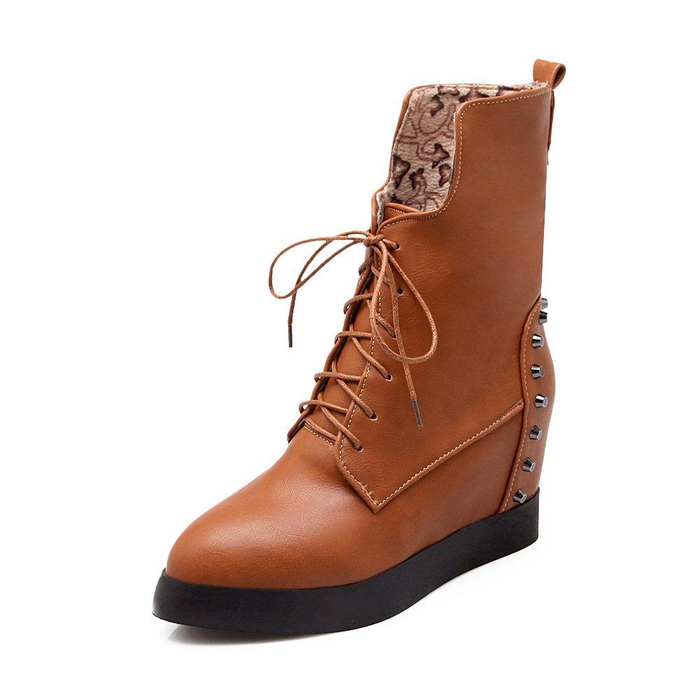 CXQ-Botas QIN&X La mujer aumento interno del talón plano corto Botines zapatos con plataforma 42 EU