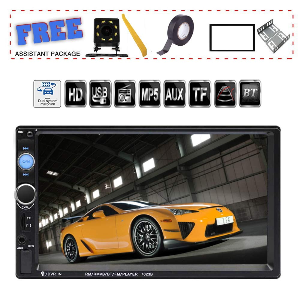 TDYJWELL 7 inch Double Din Touch Screen Car Stereo Upgrade The Latest Version MP5/4/3 Player FM Radio Video  Support Backup Rear-View Camera  Mirror Link by TDYJWELL