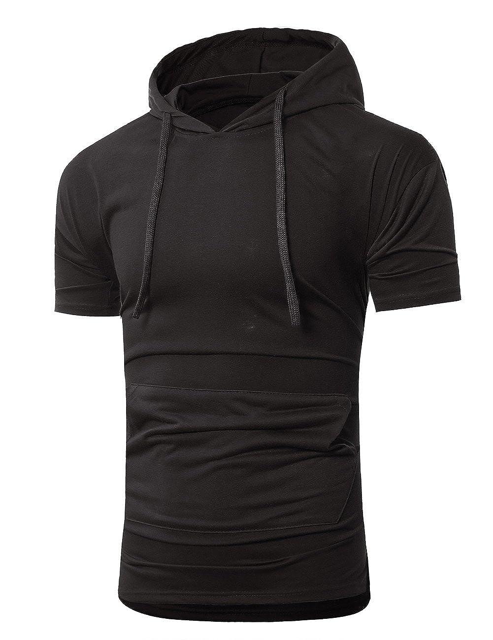DSstyles T-Shirts Men Hoodie T Shirt Short Sleeve Slim T Shirt Pure Color Hooded Tops
