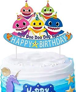 SAKOLLA Cute Shark Birthday Cake Topper - Little Shark Happy Birthday Cake Picks for Shark Theme Birthday Party Baby Shower