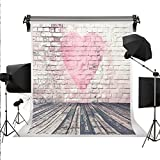 Kate for Mother's Day Background White Brick Wall Photography Backdrops Pink Love Photo Backdrop Wood Floor Background for Valentine's Day Backgrounds 10x10ft(3x3m)