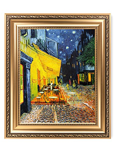 DECORARTS - Cafe Terrace at Night, Vincent Van Gogh Art Reproduction. Giclee Print& Framed Art for Wall Decor. Picture Size: 20x16, Framed Size: 26x22 - Framed Giclee Art