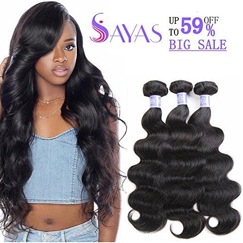 Brazilian Bundle (Sayas Hair 8A Grade Brazilian Body Wave Human Hair Bundles Weave Hair Human Bundles Brazilian Virgin Hair For African Americans Women 3 Bundles Total 300g/10.5oz (10 12 14) Inch)