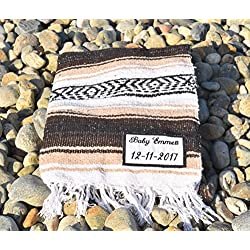 Personalized Mexican Falsa Blanket - Custom Embroidery - Wedding - Birthday - Bridal - Baby Shower -House Warming- Anniversary Gift (Beige)