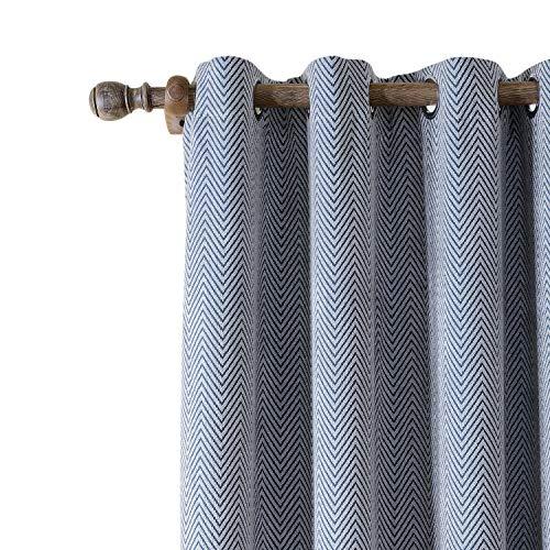 ChadMade Polyester Chenille Jacquard Eyelet Grommet Zig Zag Wave Soft Handfeel Panel Curtain Drapes 1 Panel Navy 72Wx84 L